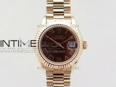 DateJust 28mm RG Diamond Bezel BP Best Edition Brown Dial Roman Markers on RG Bracelet ETA2671