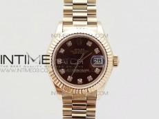 DateJust 28mm RG Diamond Bezel BP Best Edition Brown Dial on RG Bracelet ETA2671