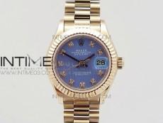 DateJust 28mm RG Diamond Bezel BP Best Edition Blue Textured Dial on RG Bracelet ETA2671