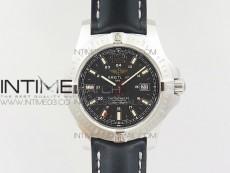Clot Chronometer SS UBF 1:1 Best Edition Black Sticks Marker Dial on Black Leather strap A2824