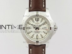 Clot Chronometer SS UBF 1:1 Best Edition White Sticks Marker Dial on Brown Leather strap A2824