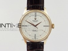 Cellini 50509 RG V4 MK 1:1 Best Edition White Dial on Brown Leather Strap A3132