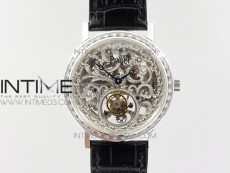 Tradition SS BBR Best Edition Diamond Paved Skeleton Dial on Black Leather Strap