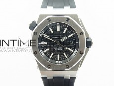 Royal Oak Offshore Diver 15703 V9.5 JF 1:1 Best Edition Black Dial on Rubber Strap A2824(Free XS Rubber Strap)