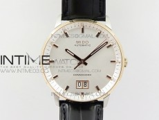 Commander SS/RG HGF 1:1 Best Edition White Dial On Black Leather strap A2824