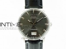 Commander SS HGF 1:1 Best Edition Gray Dial On Black Leather Strap A2824