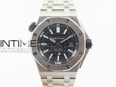 Royal Oak Offshore Diver 15703 V9.5 JF 1:1 Best Edition Black Dial on SS Bracelet A2824