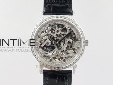 Tradition SS BBR Best Edition Diamond Paved Skeleton Dial on Black Leather Strap A23J