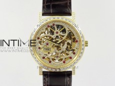 Tradition YG BBR Best Edition Diamond Paved Skeleton Dial on Black Leather Strap A23J
