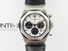 Laureato Chronograph 42mm SS TWA White/Black Dial on Black Leather Strap A7750
