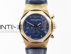 Laureato Chronograph 42mm RG TWA Blue Dial on Blue Leather Strap A7750