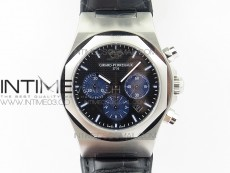 Laureato Chronograph 42mm SS TWA Black/Blue Dial on Black Leather Strap A7750