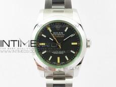 Milgauss 116400 904L SS DJF 1:1 Best Edition Black Dial on 904L SS Bracelet A2836 (Real Green Sapphire Crystal)