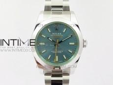 Milgauss 116400 904L SS DJF 1:1 Best Edition Blue Dial on 904L SS Bracelet A2836 (Real Green Sapphire Crystal)