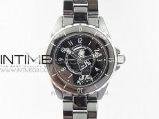 J12 Mademoiselle Shanel 38mm KOR 1:1 Best Edition Black Korea Ceramic Black Dial on Bracelet A2824