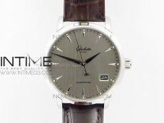 Excellence Panorama Date Phase SS ETC Marker 1:1 Best Edition Gray Dial on Brown Leather Strap A100