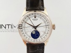 Cellini 50535 Moon RG RXW Best Edition White Dial on Brown Leather Strap A2824