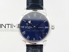 Excellence Panorama 40mm Date Moon Phase SS ETC Marker 1:1 Best Edition Blue Dial on Blue Leather Strap A100