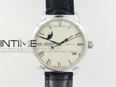 Excellence Panorama 40mm Date Moon Phase SS ETC Marker 1:1 Best Edition White Dial on Black Leather Strap A100