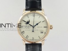 Excellence Panorama 40mm Date Moon Phase RG ETC Marker 1:1 Best Edition White Dial on Black Leather Strap A100