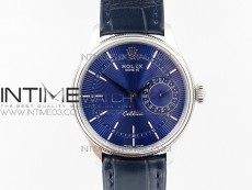 Cellini 50519 Real Date SS MK Best Edition Blue Dial Sticks Markers on Blue Leather Strap A3165