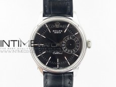 Cellini 50519 Real Date SS MK Best Edition Black Dial Sticks Markers on Black Leather Strap A3165