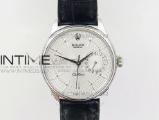 Cellini 50519 Real Date SS MK Best Edition Silver Dial Sticks Markers on Black Leather Strap A3165
