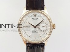 Cellini 50519 Real Date RG MK Best Edition White Dial Sticks Markers on Black Leather Strap A3165