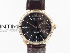Cellini 50519 Real Date RG MK Best Edition Black Dial Sticks Markers on Black Leather Strap A3165