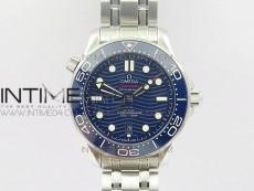 2018 Seamaster Diver 300M VSF 1:1 Best Edition Blue Ceramic Blue Dial on SS Bracelet A8800 V2 (Black Balance Wheel)