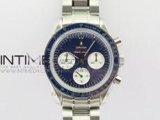Speedmaster SS Sapphire Crystal Panda Blue dial White subdial on SS Bracelet Manual Winding Chrono Movement
