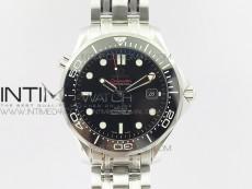 Seamaster 300M SS OMF V2 Best 1:1 Edition Black Dial Black Ceramic Bezel on SS Bracelet A2824(Black Balance Wheel)