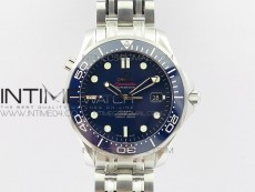 Seamaster 300M SS OMF V2 1:1 Best Edition Blue Dial Blue Ceramic Bezel on SS Bracelet A2824(Black Balance Wheel)