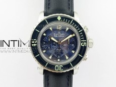 Fifty Fathoms SS Blue OMF 1:1 Best Edition Blue Dial on Sail-canvas Strap A7750 (Free Extra Strap And Tool)