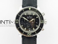 Fifty Fathoms SS Black OMF 1:1 Best Edition Black Dial on Sail-canvas Strap A7750 (Free Extra Strap And Tool)