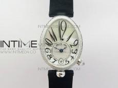 Reine de Naples 8918BB SS ZF 1:1 Best Edition White MOP Dial Diamonds Bezel on Black Fabric Strap A537