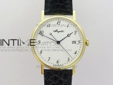 Classique Auto 5177 YG MK V2 1:1 Best Edition White Dial Numbers Markers On Black Leather A777Q