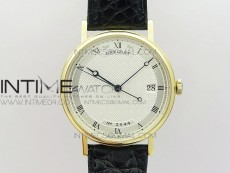 Classique Auto 5177 YG 3944 MK V2 1:1 Best Edition White Dial Numeral Markers On Black Leather A777Q