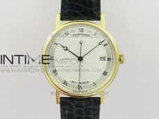 Classique Auto 5177 YG 3463 MK V2 1:1 Best Edition White Dial Numbers Markers On Black Leather A777Q