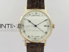 Classique Auto 5177 RG 3463 MK V2 1:1 Best Edition White Dial Numeral Markers On Brown Leather A777Q