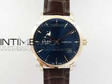 Excellence Panorama Date Moon Phase RG ETC Marker 1:1 Best Edition Blue Dial on Brown Leather Strap A100