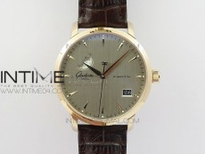 Excellence Panorama Date Moon Phase RG ETC Marker 1:1 Best Edition Gray Dial on Brown Leather Strap A100