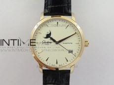 Excellence Panorama Date Moon Phase RG ETC Marker 1:1 Best Edition White Dial on Black Leather Strap A100