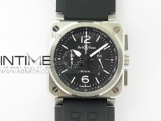 BR 03-94 Chrono SS Black Dial White Markers on Black Rubber Strap A7750 (Free Nylon Strap)