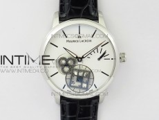 Masterpiece Square Wheel SS V3 AMF 1:1 Best Edition White Dial on Black Leather Strap A6498