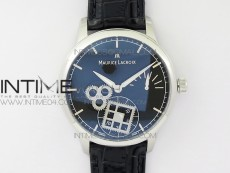 Masterpiece Square Wheel SS V3 AMF 1:1 Best Edition Black Dial on Black Leather Strap A6498