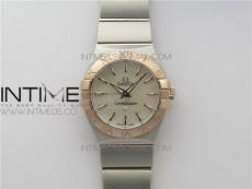 Constellation Ladies 27mm K11F 1:1 Best Edition SS/RG White MOP Dial Diamonds Markers on SS/RG Bracelet ETA Quartz