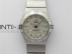 Constellation Ladies 27mm K11F 1:1 Best Edition SS White MOP Textured Dial Diamonds Markers on SS Bracelet ETA Quartz