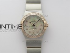 Constellation Ladies 27mm K11F 1:1 Best Edition SS/RG Diamonds Bezel White MOP Dial Stick Markers on SS/RG Bracelet ETA Quartz