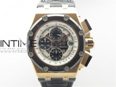 Royal Oak Offshore Ruben Barrichello II RG JF Best Edition Silver Dial on Black Leather Strap A3126 V2